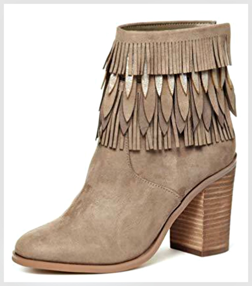 ON THE FRINGE BOOTS Taupe Layered Fringe Stacked Heel Boho Boots
