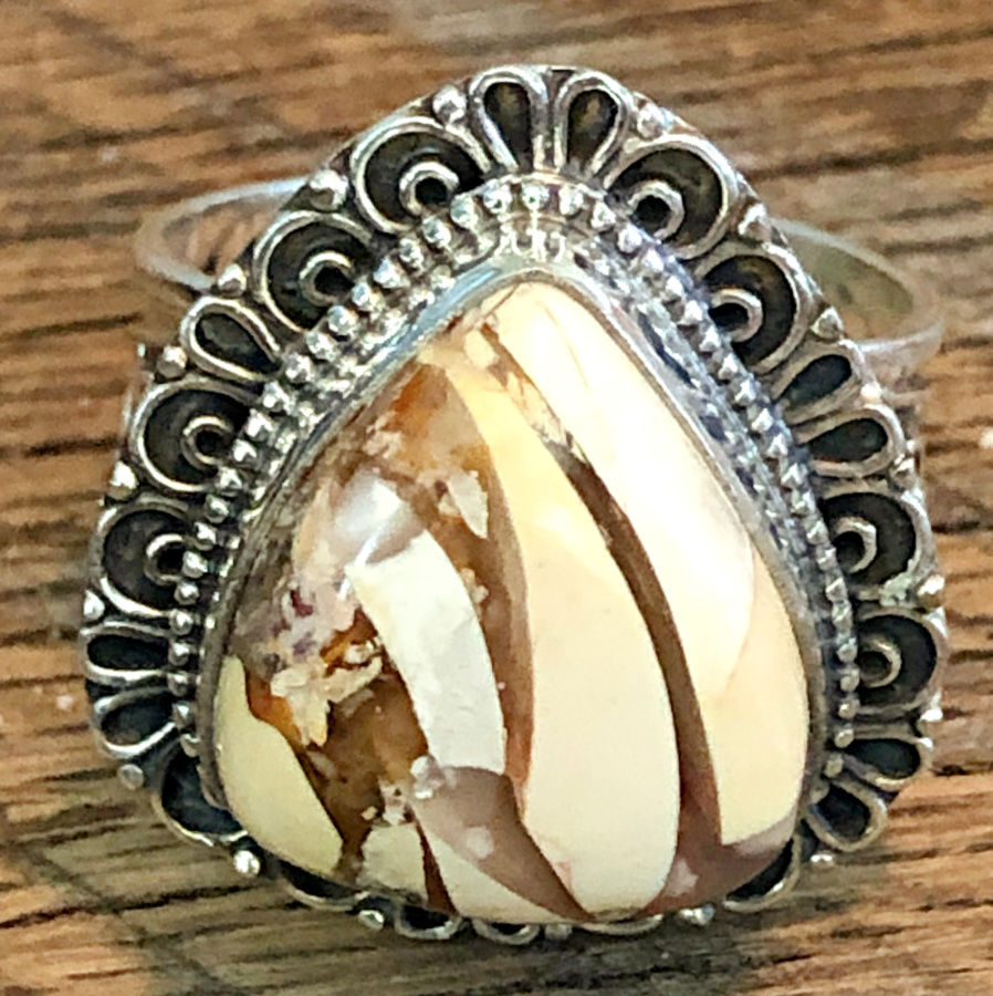 BOHEMIAN COWGIRL RING Australian Yellow Brown Brecciated Mookaite Vintage 925 Sterling Silver Ring s.9