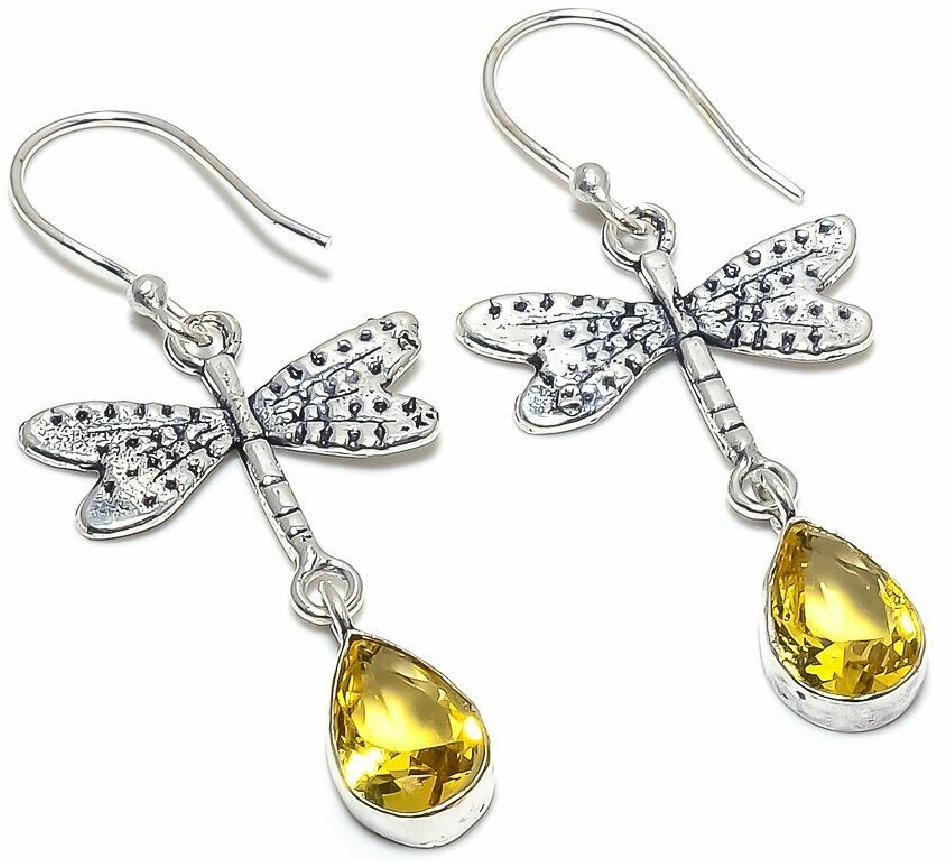 SECRET GARDEN EARRINGS Citrine Gemstone Handmade 925 Sterling Silver Dragonfly Dangle Earrings