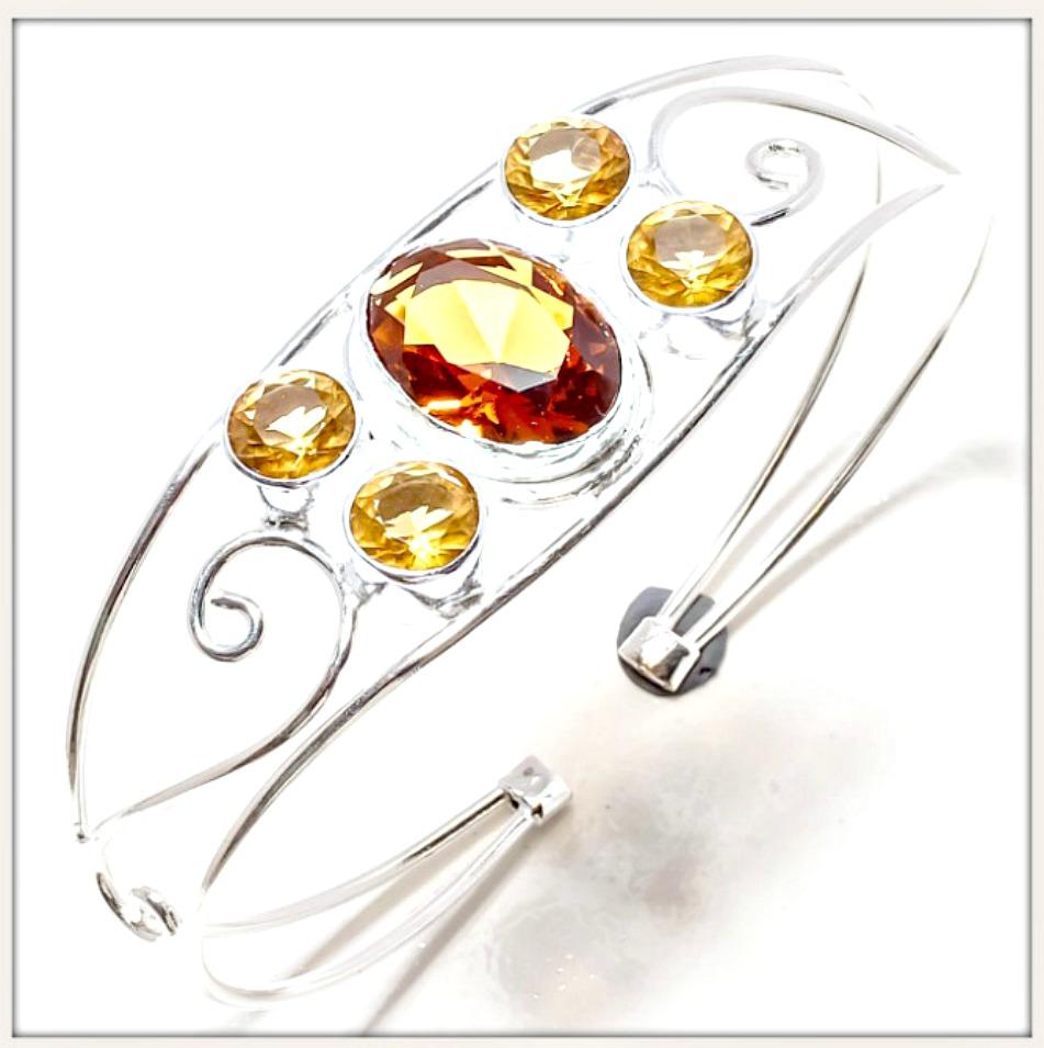 COWGIRL GYPSY BRACELET Yellow Citrine Gemstone Sterling Silver Boho Cuff