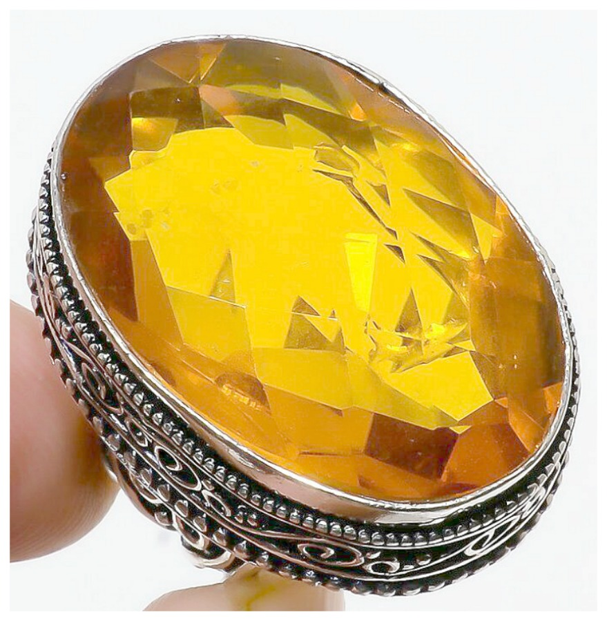 THE FARRAH RING Vintage Style Citrine Gemstone 925 Sterling Silver Boho Ring SIZE 7.5