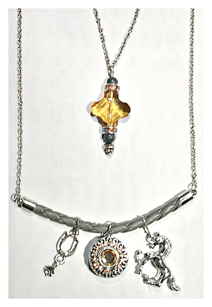 COWGIRL STYLE NECKLACE Silver Horse Yellow Crystal Snap & Horseshoe Charms Leather & Silver Chain Necklace