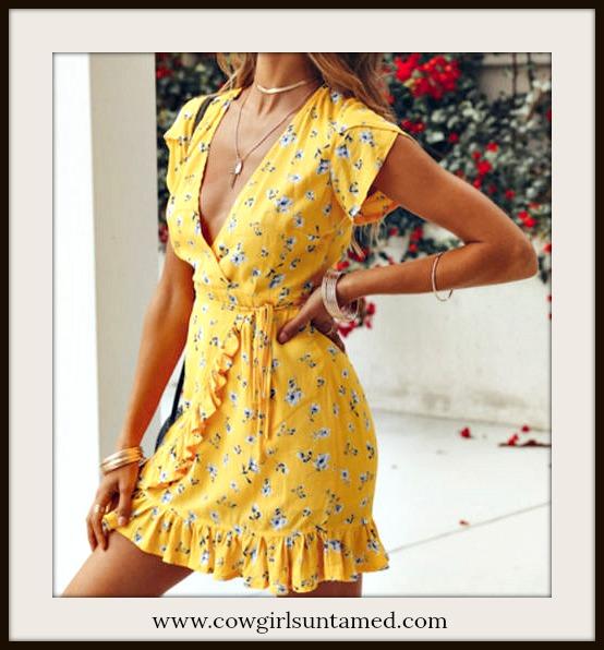MAGNOLIAS BLOOM DRESS Floral Yellow Wrap Mini Dress
