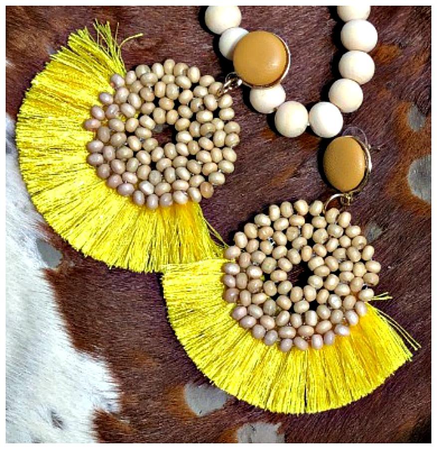 ON the FRINGE EARRINGS Yellow Fringe Wood Beaded Leather Large Boho Earrings