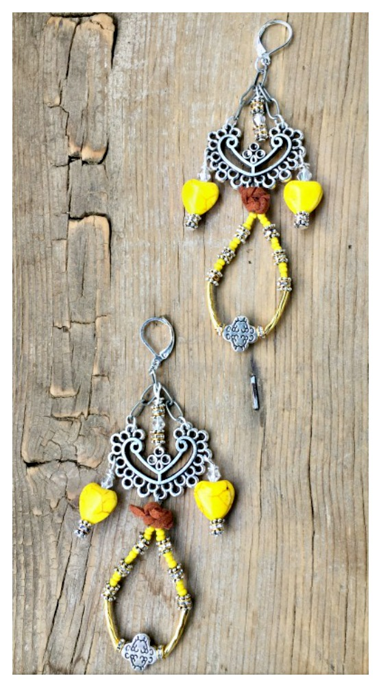 BOHO CHIC EARRINGS Yellow Turquoise Heart Rhinestone Antique Silver Cross Long Earrings