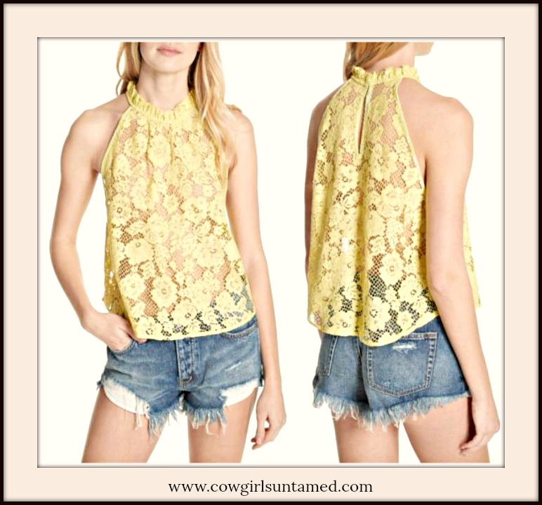 BOHO CHIC TOP High Neck Sheer Sleeveless Chartreuse Lace Blouse by FREE PEOPLE