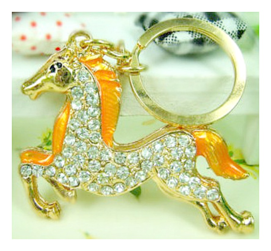 HORSE LOVIN' COWGIRL KEY CHAIN Beautiful Golden Yellow Rhinestone Horse Keychain