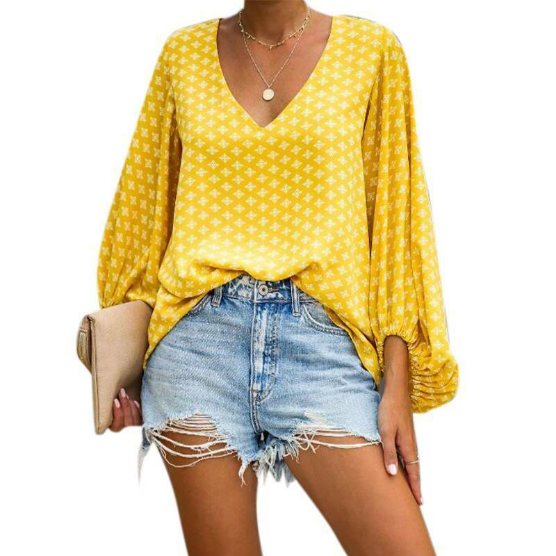 THE KIRA TOP V Neck Yellow Print Long Balloon Sleeve Boho Womens Top Blouse S-2X