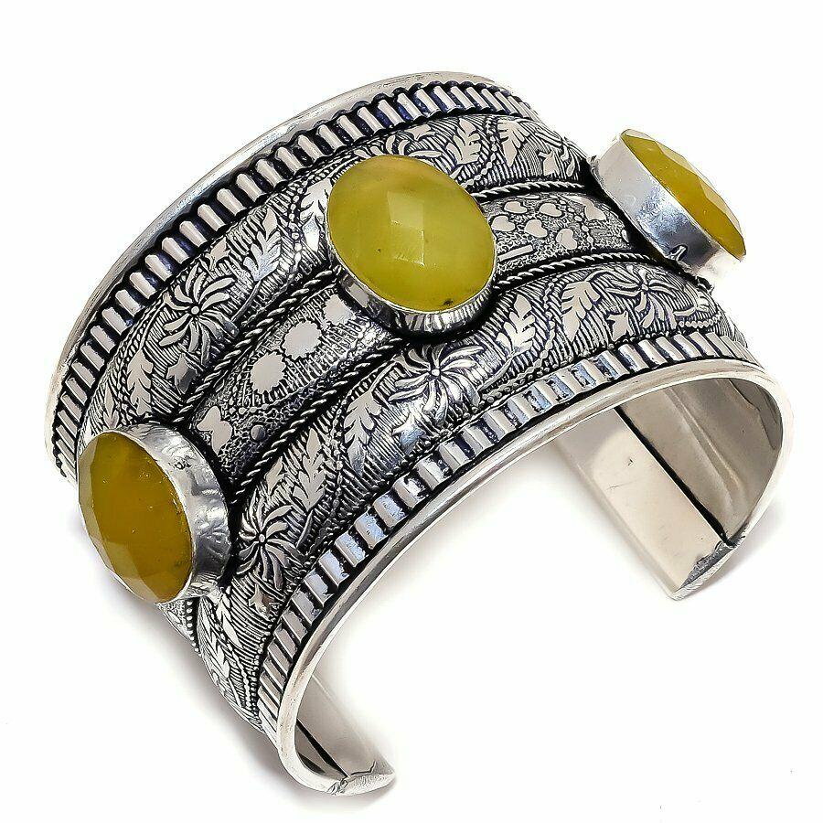 BOHO COWGIRL BRACELET Yellow Sapphire Vintage Style 925 Sterling Silver Adjustable Cuff Bracelet LAST ONE