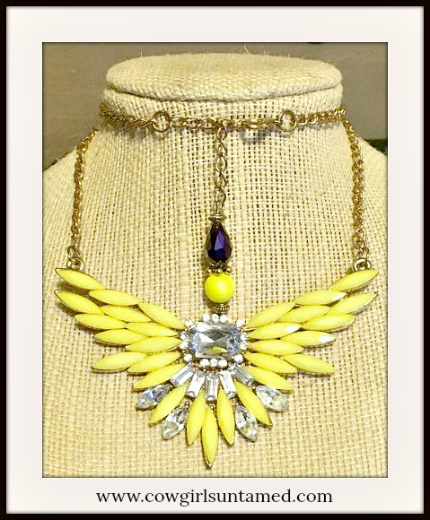 COWGIRL GYPSY NECKLACE Yellow Wings and Rhinestones Gold Tone Necklace