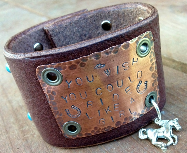 """COWGIRL ATTITUDE CUFF Silver Horse Charm on """"You Wish You Could Ride Like A Girl"""" Turquoise Studded Black GENUINE LEATHER Western Cuff Bracelet"""