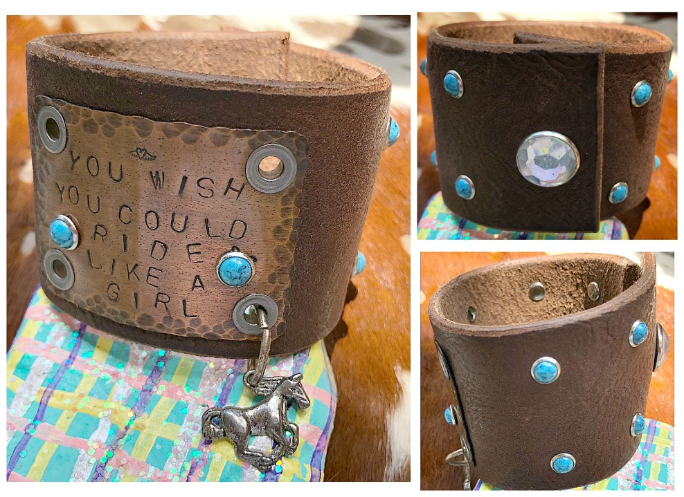 """COWGIRL ATTITUDE CUFF Antique Copper """"You Wish You Could Ride Like A Girl"""" Turquoise Studded Silver Horse Brown GENUINE LEATHER Western Bracelet LAST ONE"""
