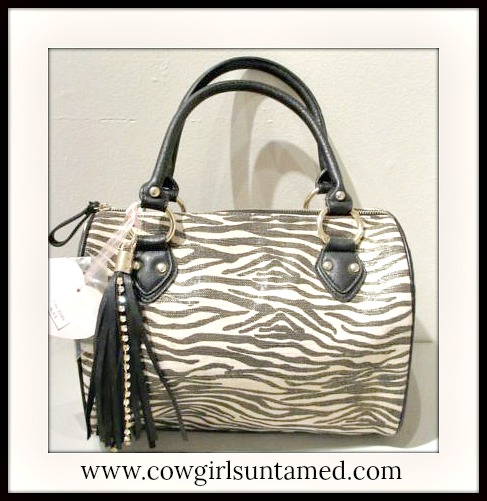 ON THE PROWL HANDBAG Black and Beige Zebra Print Rhinestone Handbag