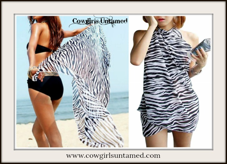 COWGIRL GYPSY SCARF Black & White Zebra Western Scarf Shawl Cover Up