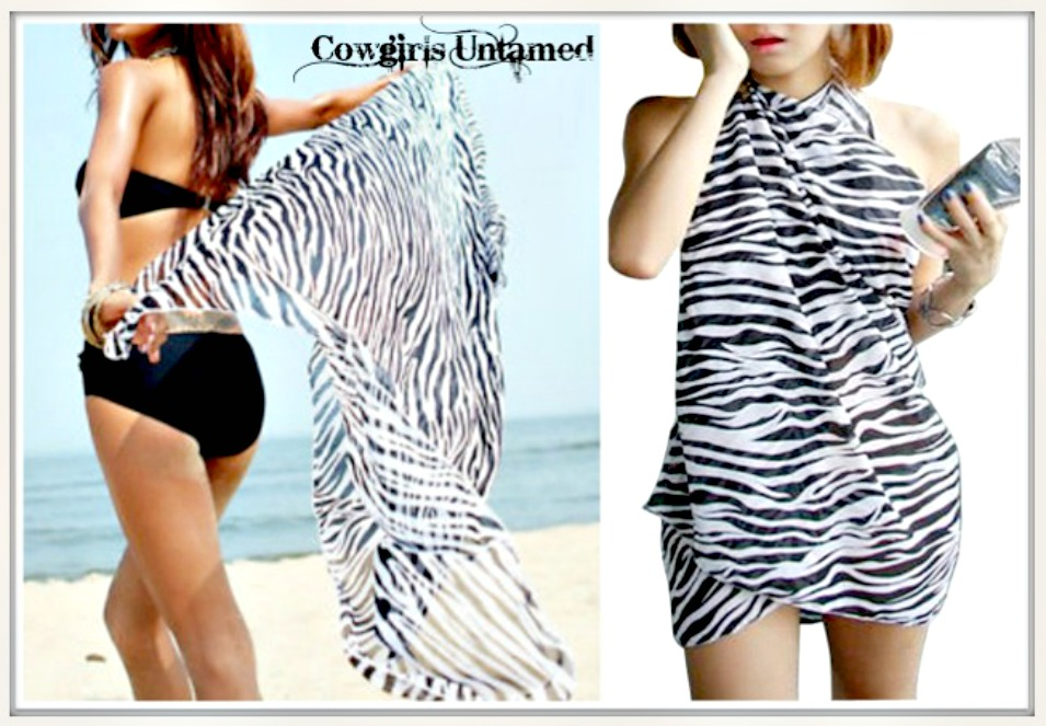 ON the PROWL SCARF Black & White Zebra Western Scarf Shawl Cover Up