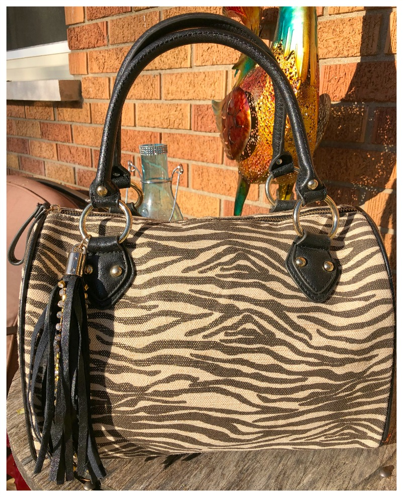 ON THE PROWL HANDBAG Black and Beige Zebra Print Rhinestone Handbag LAST ONE! SAVE!