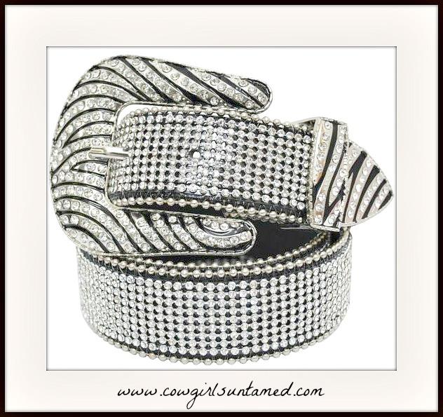 CLASSY COWGIRL BELT Rhinestone Silver Zebra Buckle Crystal Western Belt