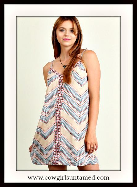 BOHEMIAN COWGIRL DRESS Teal & Red Chevron Geometric Print & Embroidery Beige Sleeveless Mini Boho Dress