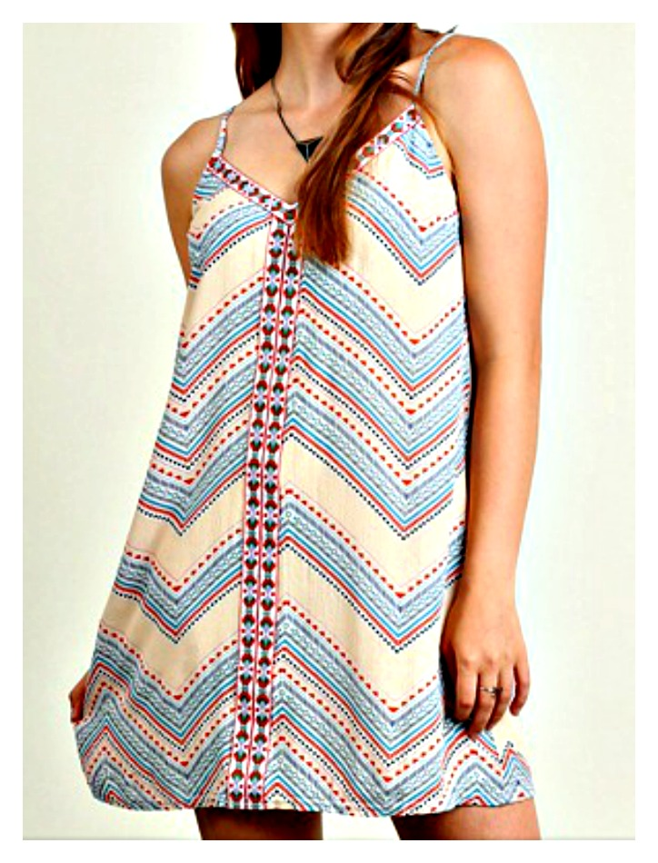 BOHEMIAN COWGIRL DRESS Teal & Red Chevron Geometric Print & Embroidery Beige Sleeveless Mini Boho Dress