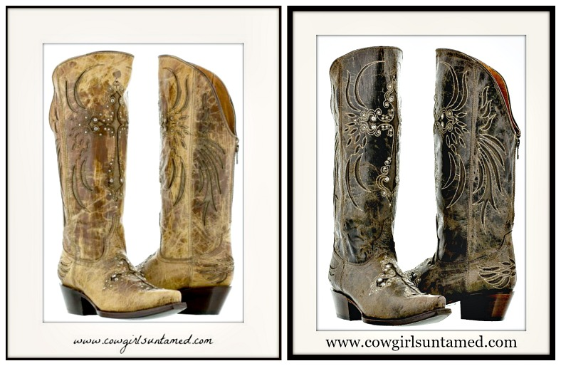 WESTERN COWGIRL BOOTS Zip Back Rhinestone Studded Cross Inlay on Distressed GENUINE LEATHER Boots
