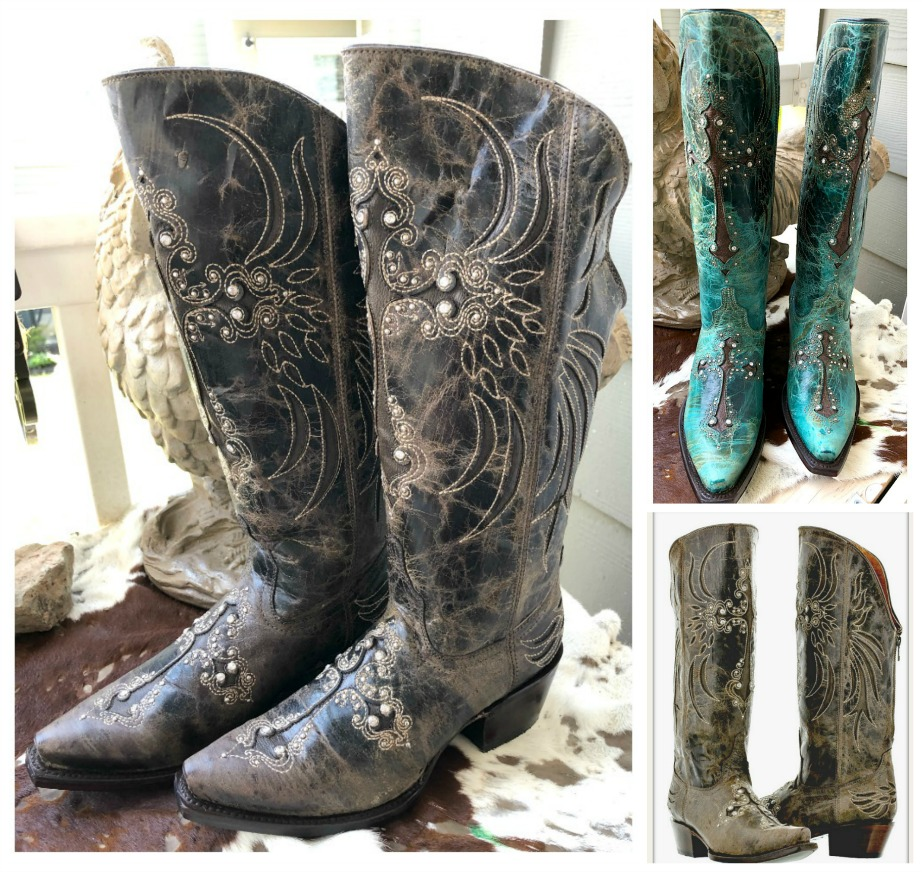 SALE BOOTS Zip Back Crystal Studded Cross Inlay Distressed GENUINE LEATHER Cowgirl Boots SIZE 6 2 COLORS Last Pair