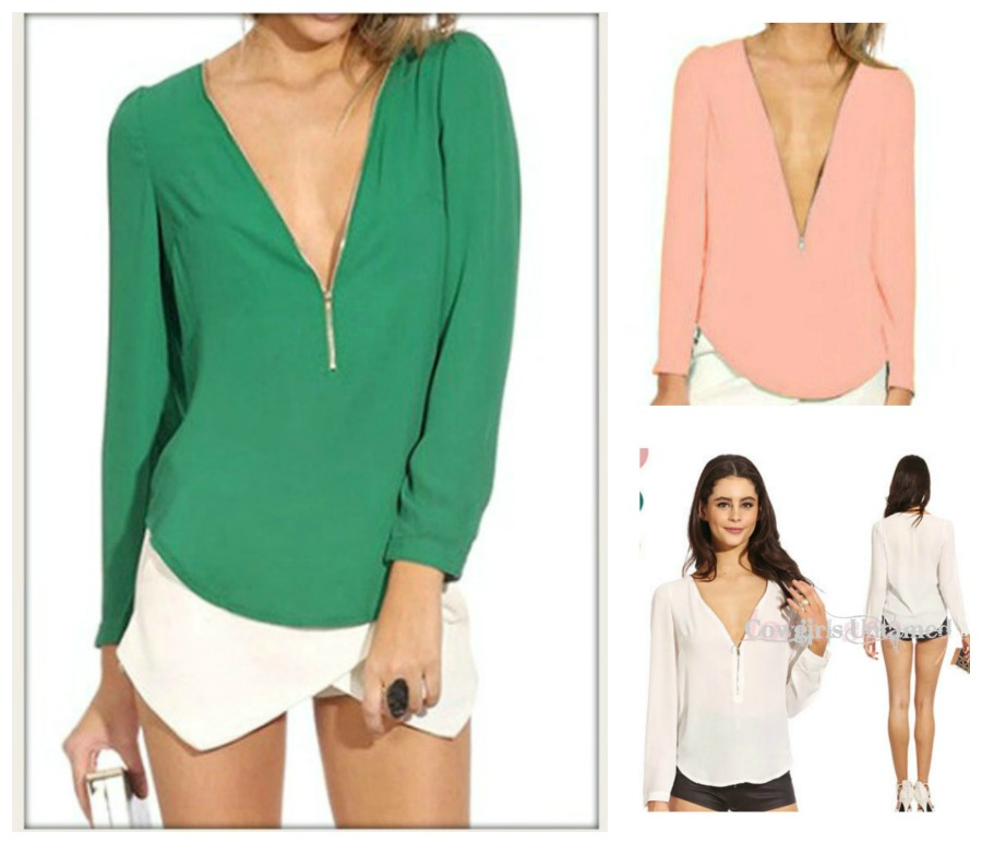TOUCH OF CLASS TOP Deep V Zipper Neckline Long Sleeve Deep V Neck Chiffon Western Top ONLY 3 LEFT!