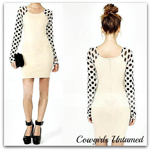 COWGIRLS ROCK DRESS White Polka Dot Long Sleeved Bodycon Back Zipper Mini Dress