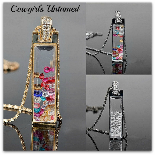 COWGIRL GYPSY NECKLACE Rectangle Rhinestone Crystal Long Chain Trendy Pendant Necklace