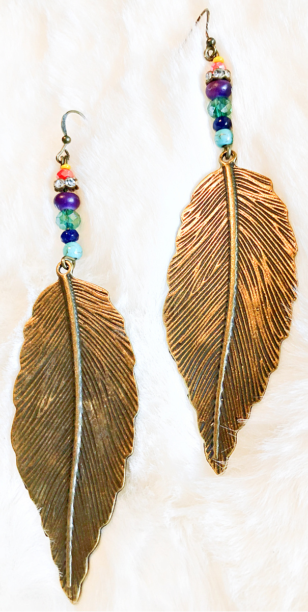 THE CHEYENNE DESERT EARRINGS Hand Beaded Turquoise Multi Color Crystal Blue Lapis Antique Bronze Feather Boho Cowgirl Earrings