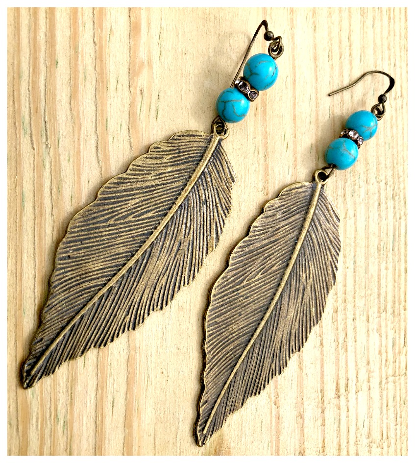 THE SONORAN PINK DESERT EARRINGS Antique Bronze Feather Pendant on Aqua Turquoise Rhinestone Beaded Boho Cowgirl Earrings