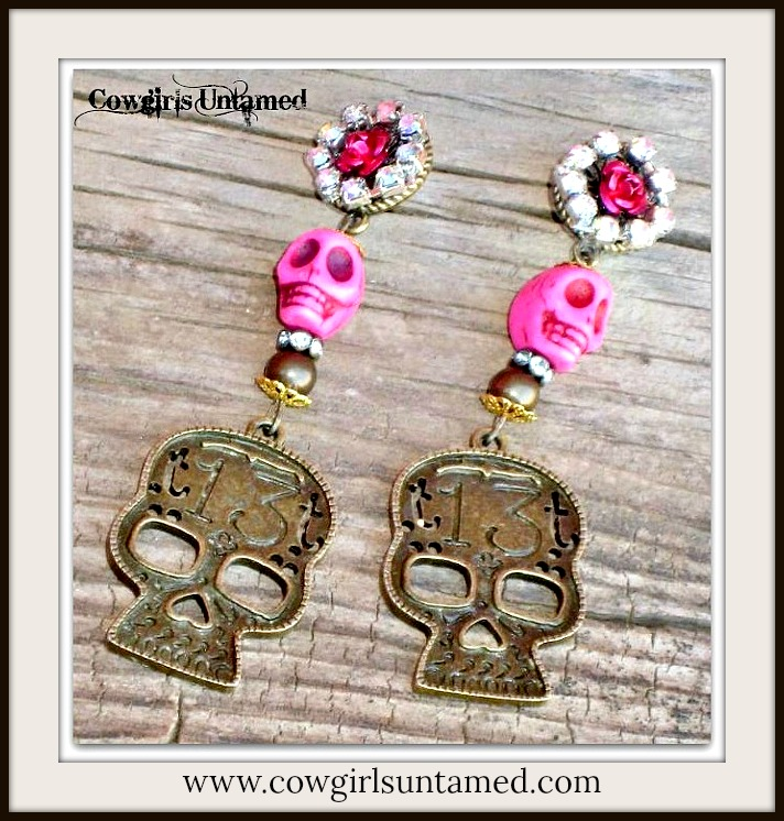 "COWGIRL GYPSY EARRINGS Antique Bronze Lucky ""13"" Pink Turquoise Skull Rhinestone Earrings"