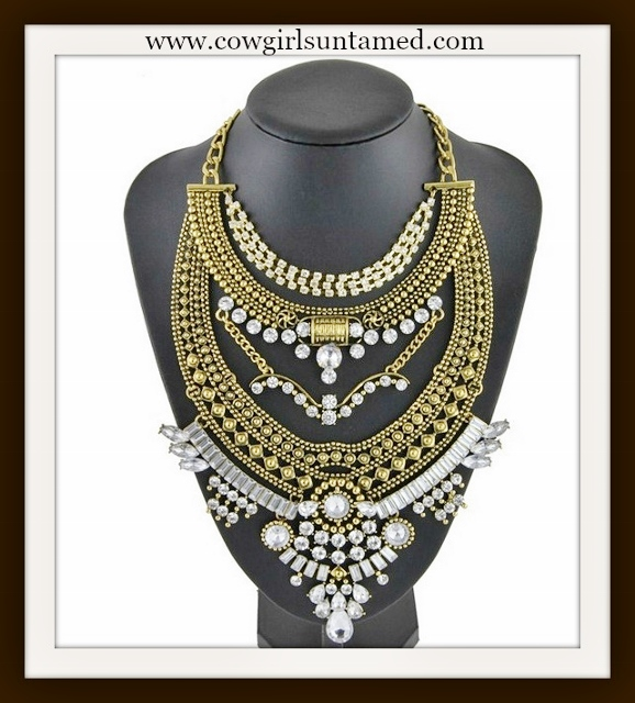 COWGIRL GYPSY NECKLACE Layered Antique Gold Chain and Rhinestone Boho Necklace