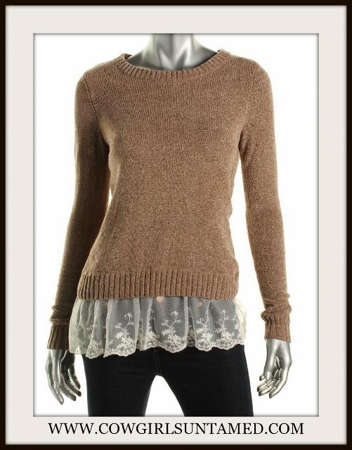 DESIGNER SWEATER Lace Trim Pullover Sweater