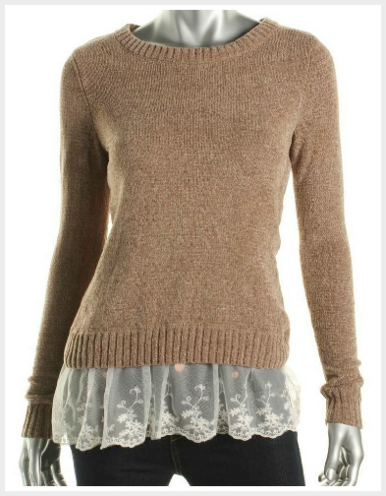 OH MG SWEATER Lace Trim Mocha Brown Pullover Sweater ONLY S and L LEFT