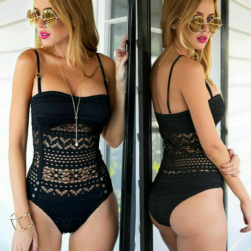 WILDFLOWER SWIMSUIT Black Crochet Lace One Piece Boho Bathing Suit LAST ONE S/M