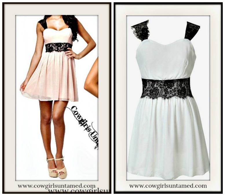 COWGIRL GYPSY DRESS Empire Waist Black Lace & Chiffon Mini Dress