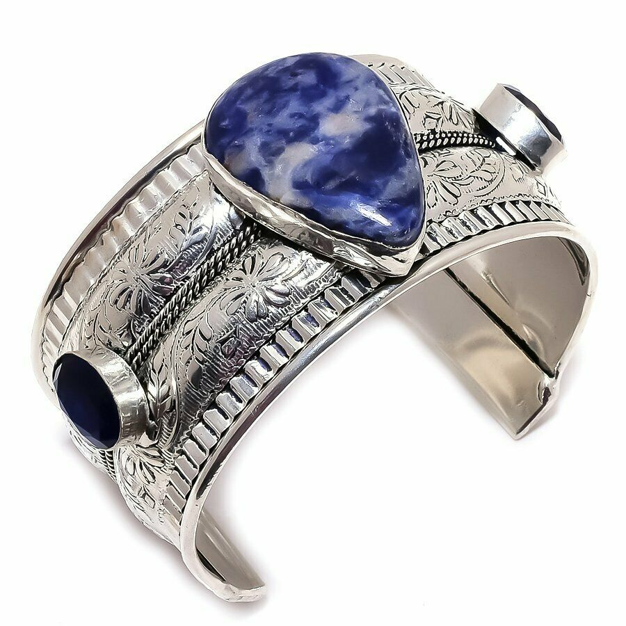 BOHO COWGIRL BRACELET Blue Sodalite & Sapphire Vintage Style 925 Sterling Silver Cuff Bracelet 2 LEFT