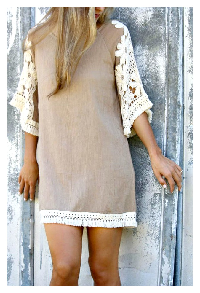 WILDFLOWER DRESS Cream Crochet Lace & Thick Fringe Trim Tan Chiffon Boho Dress