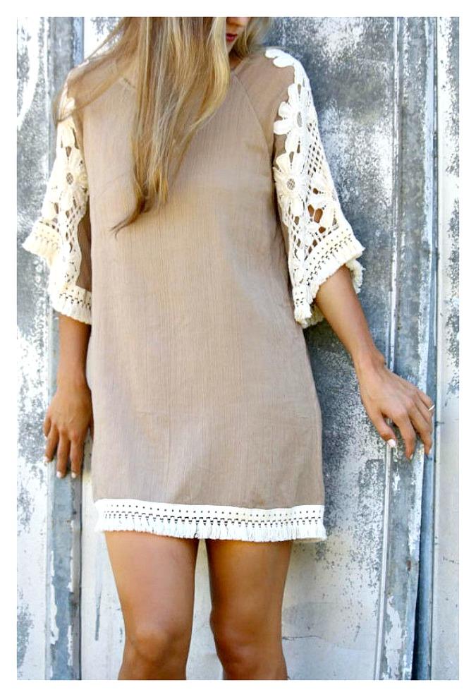 WILDFLOWER DRESS Cream Crochet Lace & Thick Fringe Trim Tan Chiffon Boho Dress
