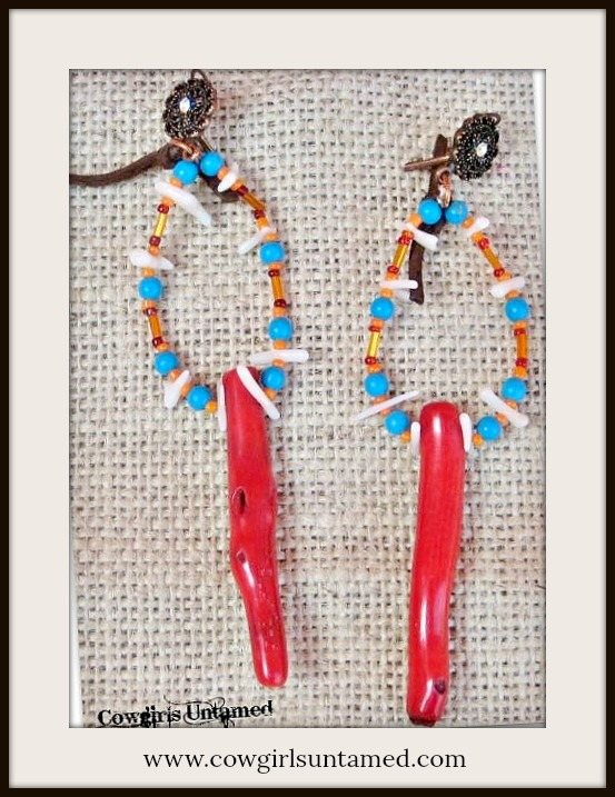 SUNDANCE COWGIRL EARRINGS Genuine Red Coral Branch Leather Tassel Copper Earrings