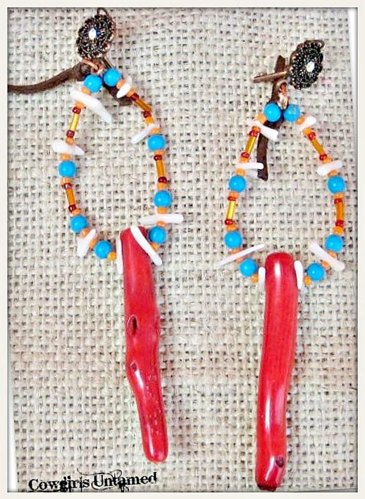 SUNDANCE COWGIRL EARRINGS Genuine Red Coral Branch Leather Tassel Copper Earrings