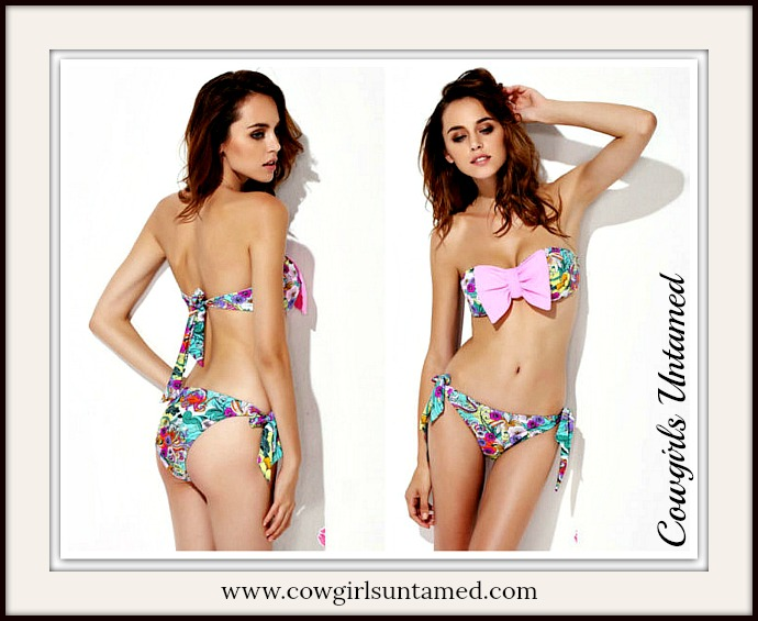 SOUTHERN BELLE BIKINI Floral Big Bowknot Bandeau Padded Southern Bikini Bathing Suit
