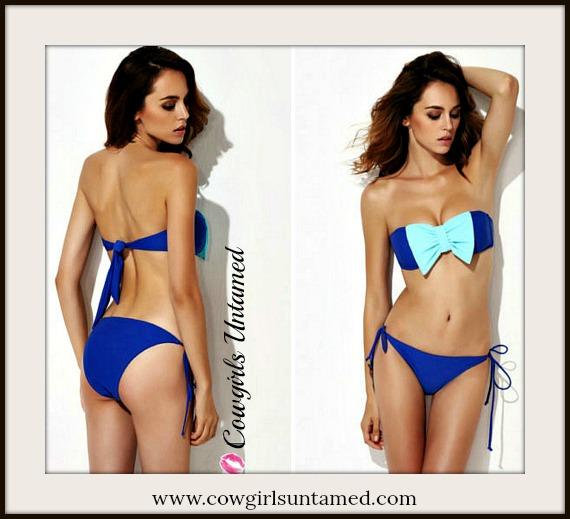 SOUTHERN BELLE BIKINI Aqua Bow Bandeau Strapless Padded Blue Bikini Set