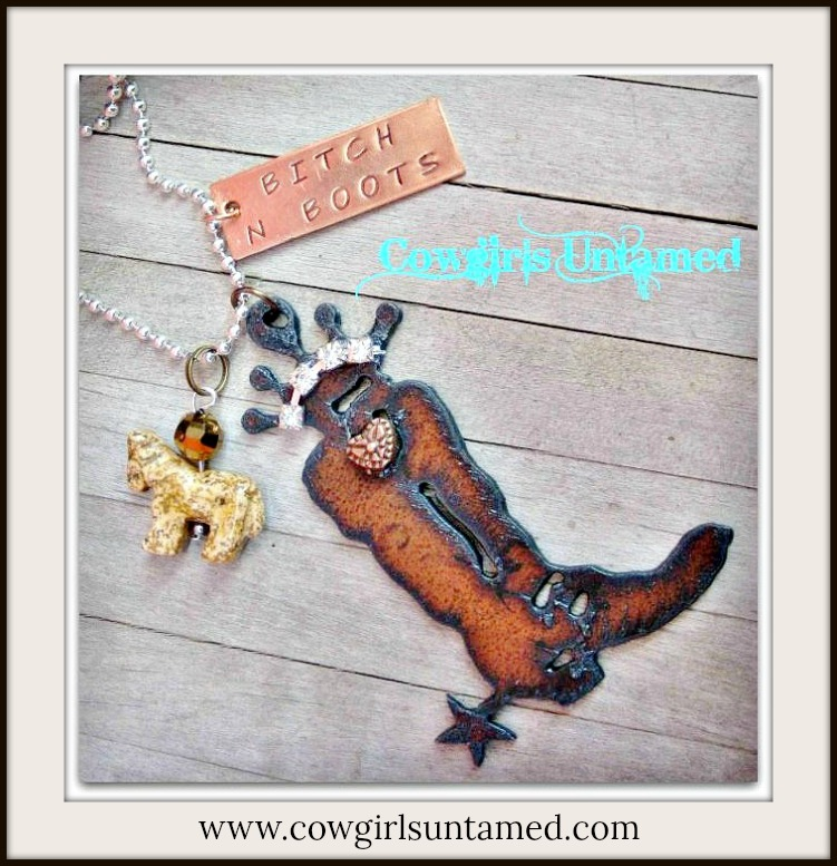 "COWGIRL ATTITUDE NECKLACE ""Bitch N Boots"" & Gemstone Horse & Crystal Charms Rhinestone Crown Boot Pendant Western Necklace"