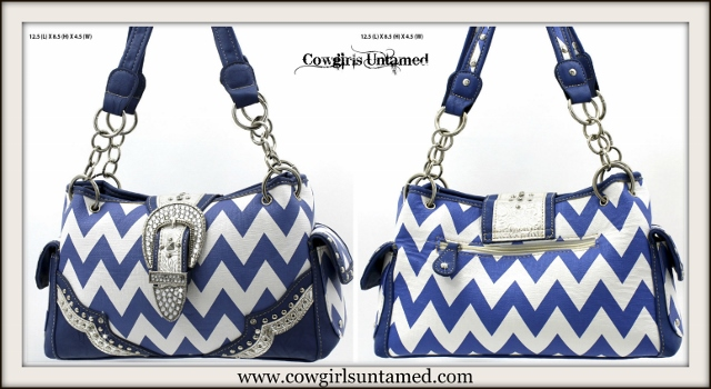 WESTERN COWGIRL HANDBAG Silver Crystal Buckle Blue & White Chevron Leather Purse