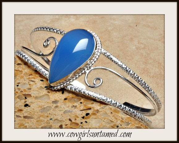 BOHEMIAN COWGIRL BRACELET Blue Chalcedony Sterling Silver Vintage Style Cuff
