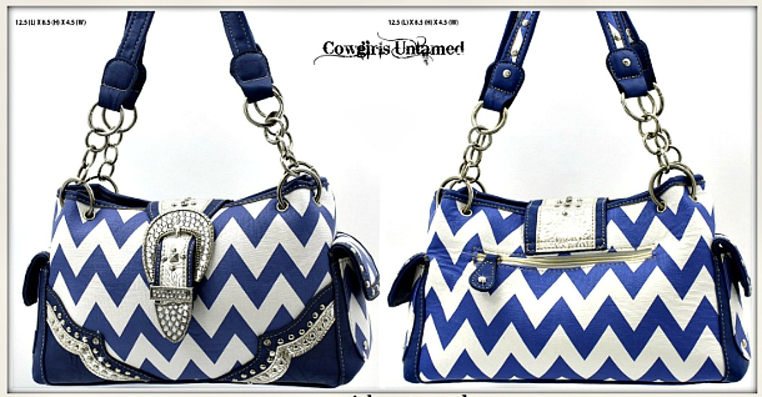 WESTERN COWGIRL HANDBAG Silver Crystal Buckle Blue & White Chevron Leather Purse LAST ONE