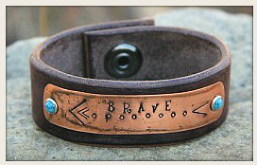 Brown Leather Turquoise Studded Boho Cuff Bracelet Jewelry Copper Boutique Online Ping