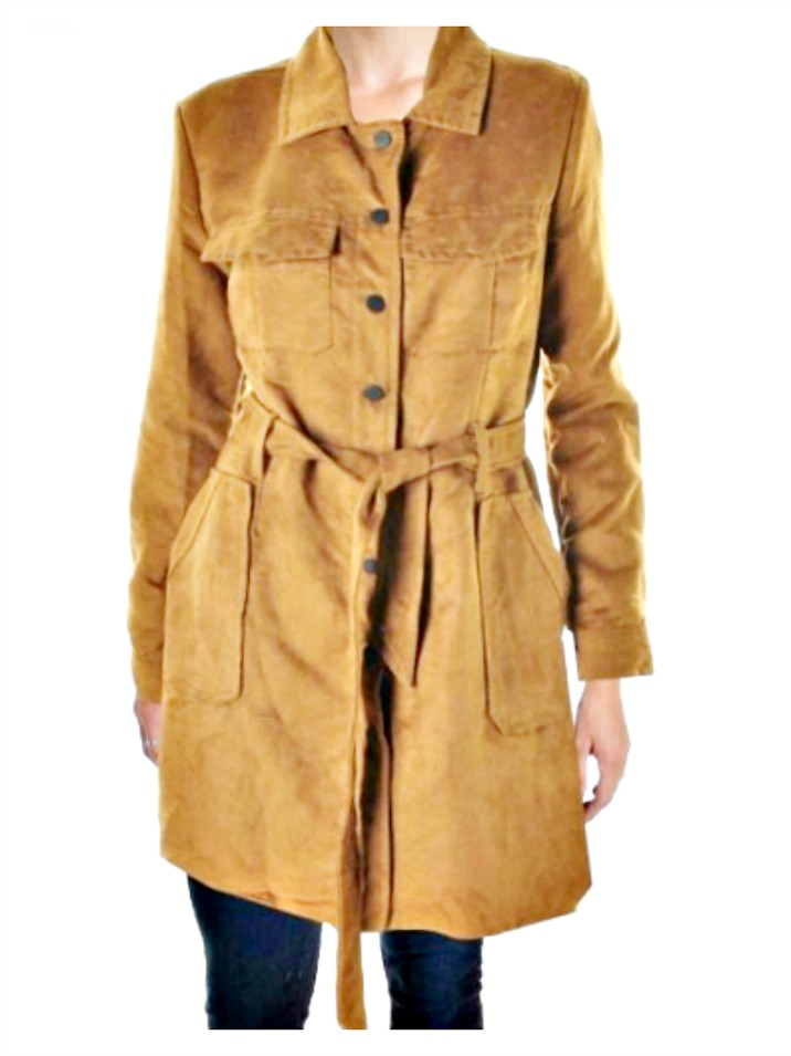 THE JANELLE COAT Brown Faux Suede Designer Lined Trench Coat ONLY M & L LEFT!