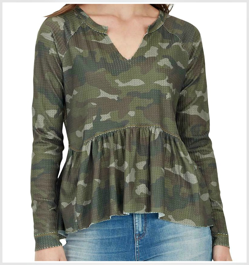 THE GRYPHON TOP Olive Green Brown Camouflage Split Neckline Peplum Ruffle Long Sleeve Top OS